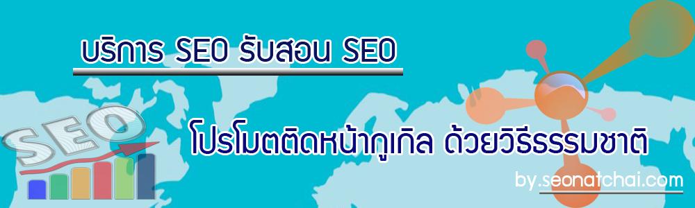 บริการ SEO รับสอน SEO โปรโมตติดหน้ากูเกิล ด้วยวิธีธรรมชาติ